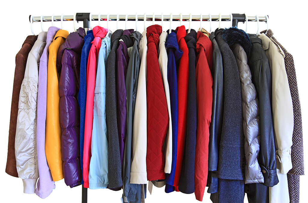 an assortment of coats
